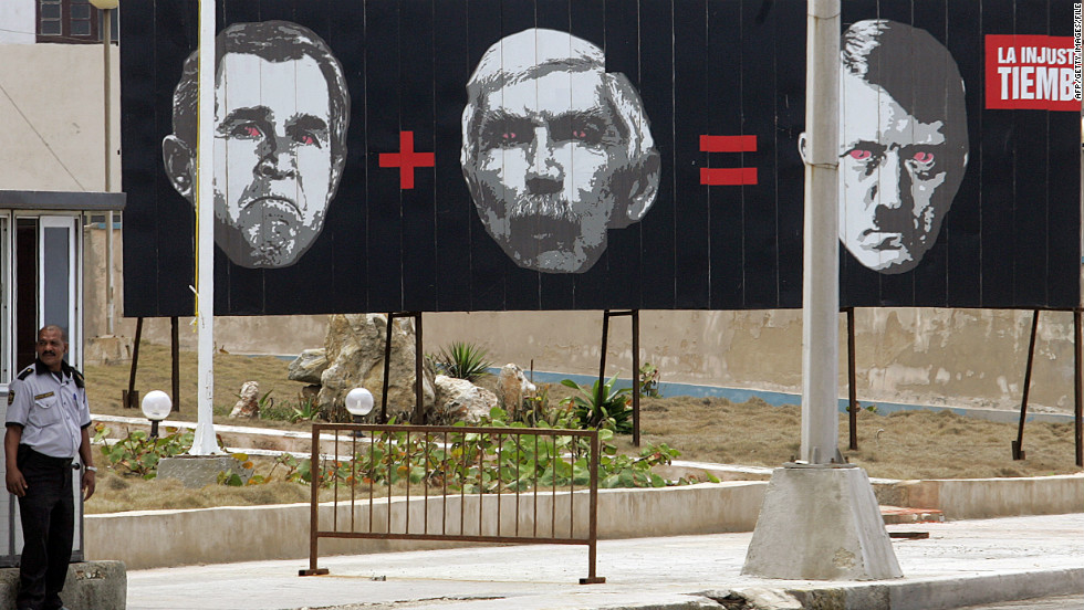 A Havana billboard from 2007depicts (L to R) George W. Bush, Luis Posada Carriles -- an anti-Castro Cuban activist and ex-CIA operative -- and Adolf Hitler.