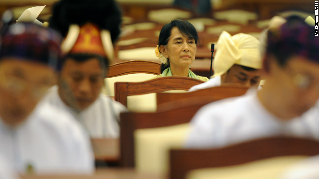 Aung San Suu Kyi attends the lower house parliament session in Naypyidaw on July 9, 2012.