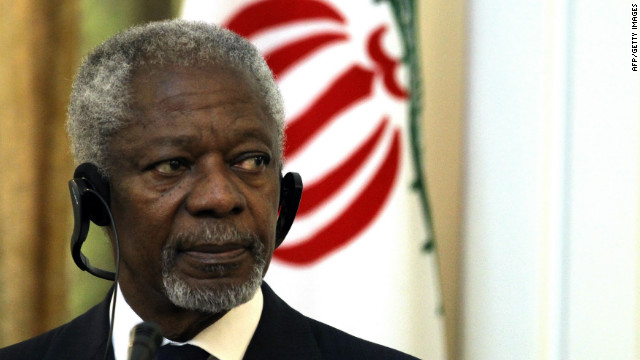 Kofi Annan pictured in Tehran on July 10, 2012