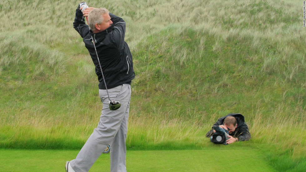 Former Ryder Cup European team captain Colin Montgomerie was the star chosen by Trump to have a swing at the new course.