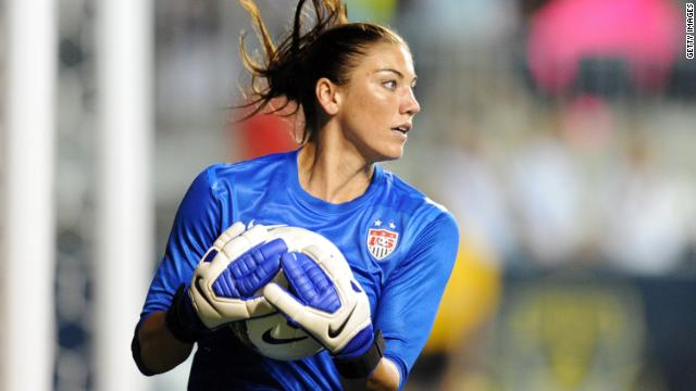 Hope Solo plays in a game against China at PPL Park in Chester, Pennsylvania, on May 27, 2012. The U.S. won, 4-1.