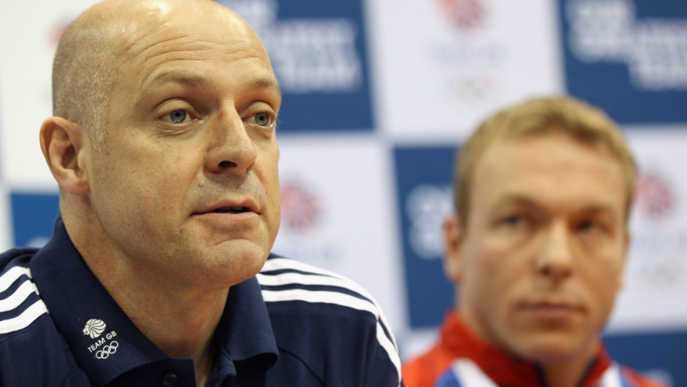 Team Sky general manager Dave Brailsford (foreground, ahead of Christopher Hoy) has been instrumental in the meteoric rise of British cycling. After witnessing Wiggins' performances at the 2008 Beijing Olympics, he played a key role in the formation of Team Sky.