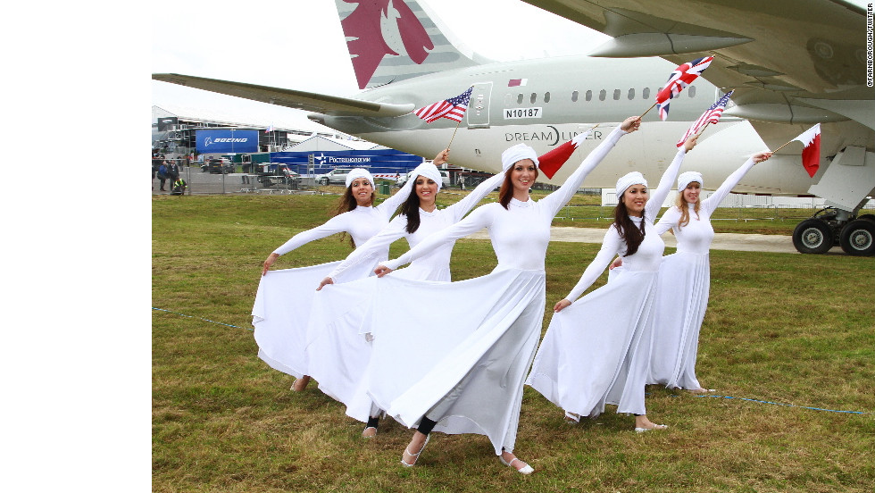 Flag dance ceremony to celebrate the unveiling of Qatar Airways' new Boeing 787 Dreamliner.