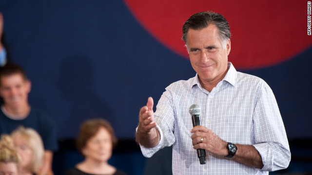 Mitt Romney speaks at a town hall meeting at in Grand Junction, Colorado, on July 10, 2012.