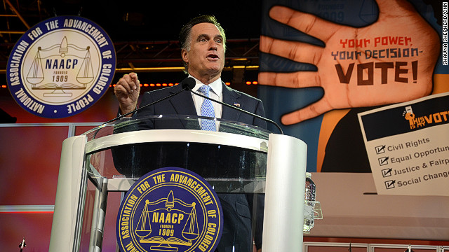 Presumptive GOP nominee Mitt Romney spoke Wednesday at the annual convention of the NAACP