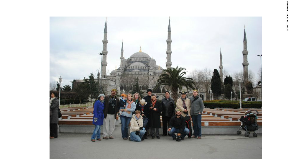 "Members of the inaugural ""Muslim for a Month"" tour stand before the Blue Mosque in Istanbul, Turkey."