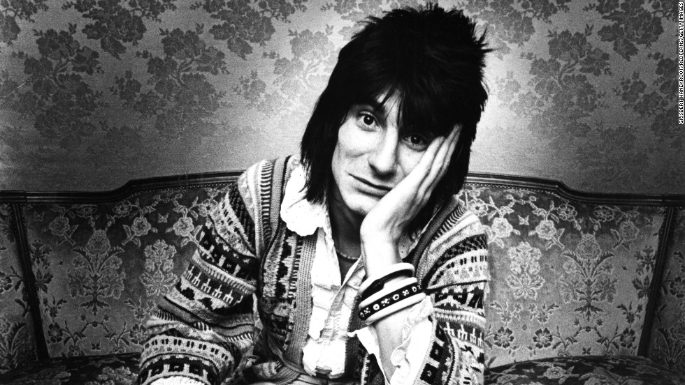 Ronnie Wood, pictured in Brussels, Belgium, in 1976. The guitarist joined the band the previous year, though he continued to collaborate with artists including Rod Stewart, Bob Dylan, Prince and Eric Clapton.