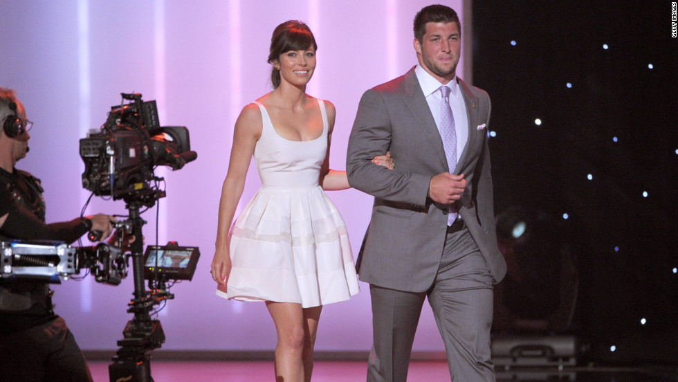 Jessica Biel and Tim Tebow presented an award at Wednesday night's Excellence in Sports Performance Yearly Awards, or ESPY Awards.