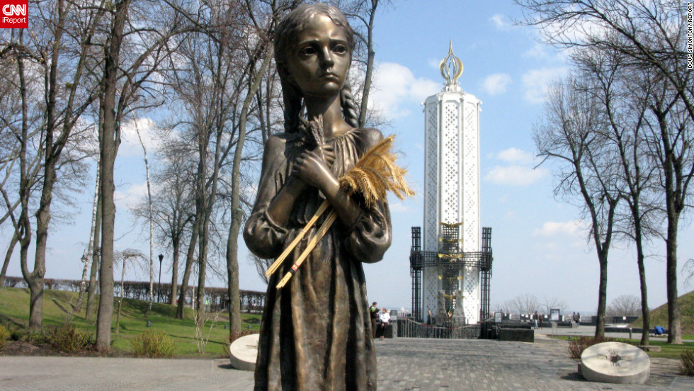 The Holodomor monument in central Kiev offers up a lasting memory to the millions of Ukrainians killed by famine during the 1930's. The country has suffered its fair share of tragedy in the last century, says Doug Simonton, including being engulfed by two world wars and the Chernobyl nuclear disaster.