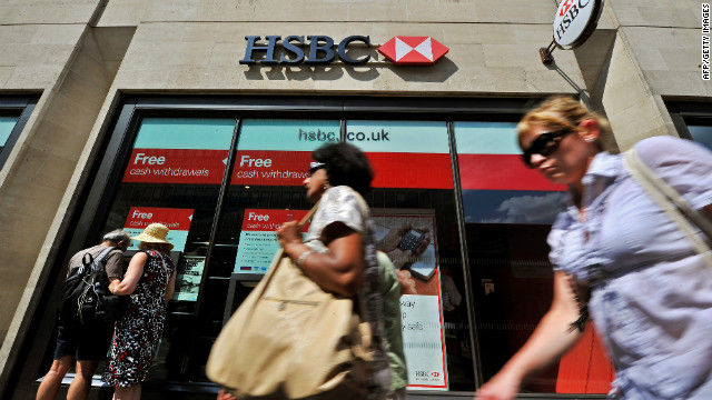 An HSBC bank branch is pictured in central London on August 1, 2011.