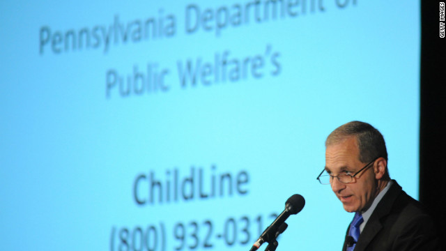 Louis B. Freeh speaks with the media after releasing a report highly critical of Penn State's handling of the Sandusky case.