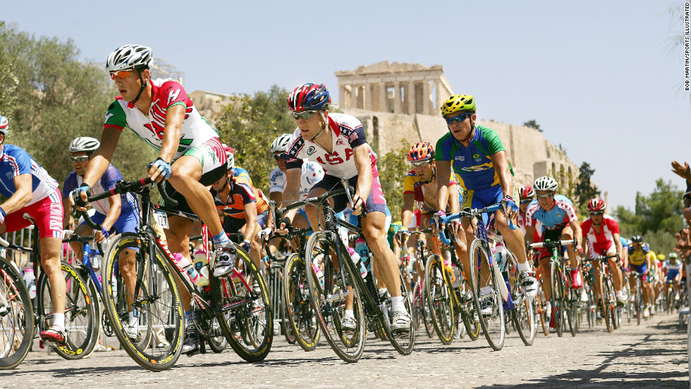 Sometimes, it isn't important to showcase where an event is taking place. But because of great scouting and positioning, Bob Martin was in the right spot to capture this long, elegant, powerful line of cyclists against the backdrop of the Parthenon in Athens. The shot is well-exposed on a sunny day, making those team colors really pop. The contrast is engaging -- putting an ancient landmark against the sea of bright-colored jerseys. But it also shows where the Olympics have been, and where they're going.