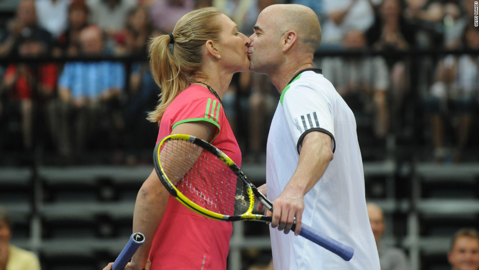 Steffi Graf and Andre Agassi married in 2001 and still pair up in mixed doubles exhibition matches.