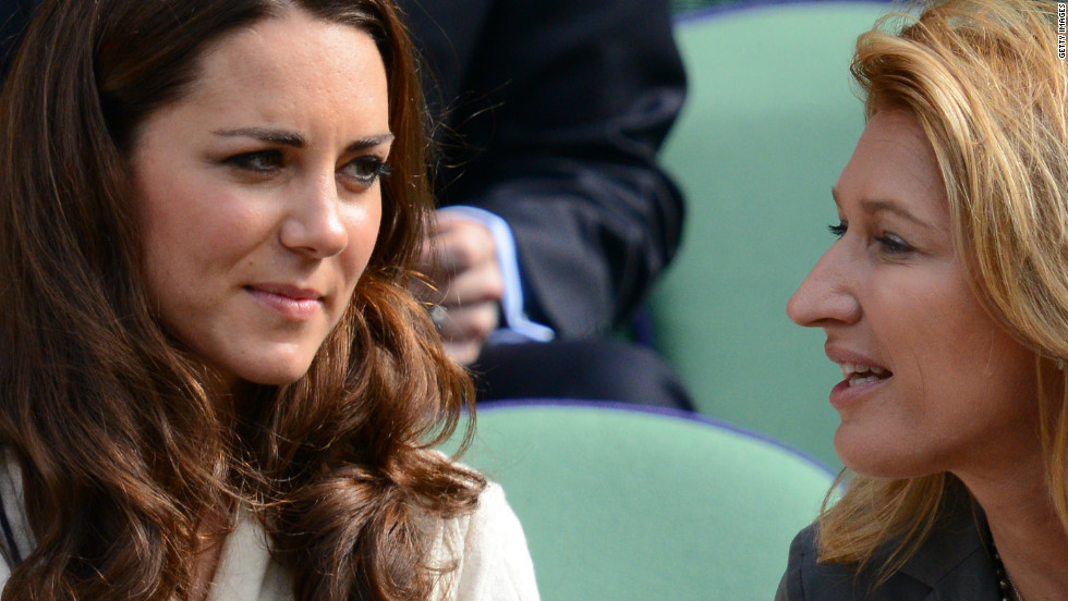 Graf shares a moment in the Royal Box at Wimbledon 2012 with the Duchess of Cambridge, Kate Middleton.