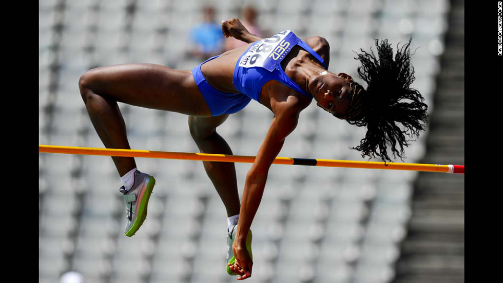 Tamara de Sousa of Brazil competes in the high jump portion of the women's heptathlon event Thursday at the IAAF World Junior Championships in Barcelona, Spain.