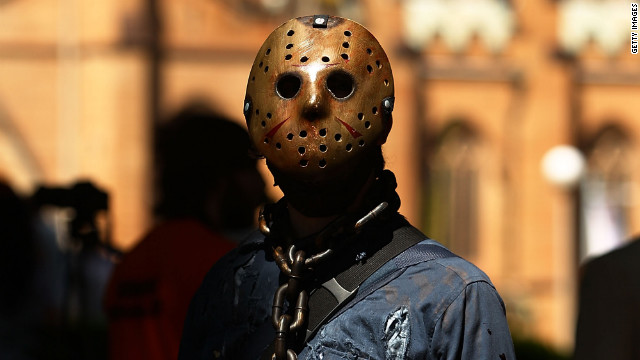 A man dressed as Jason from Friday the 13th is seen in Hyde Park on February 25, 2012 in Sydney, Australia.