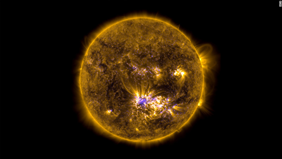 This image combines two sets of observations of the sun on July 12, 2012 from the SDO to give an impression of what the sun looked like shortly before it unleashed an X-class flare.