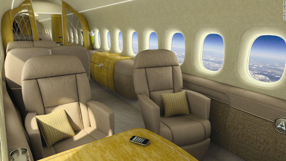 A depiction of the proposed interior of the Aerion SBJ supersonic business jet.