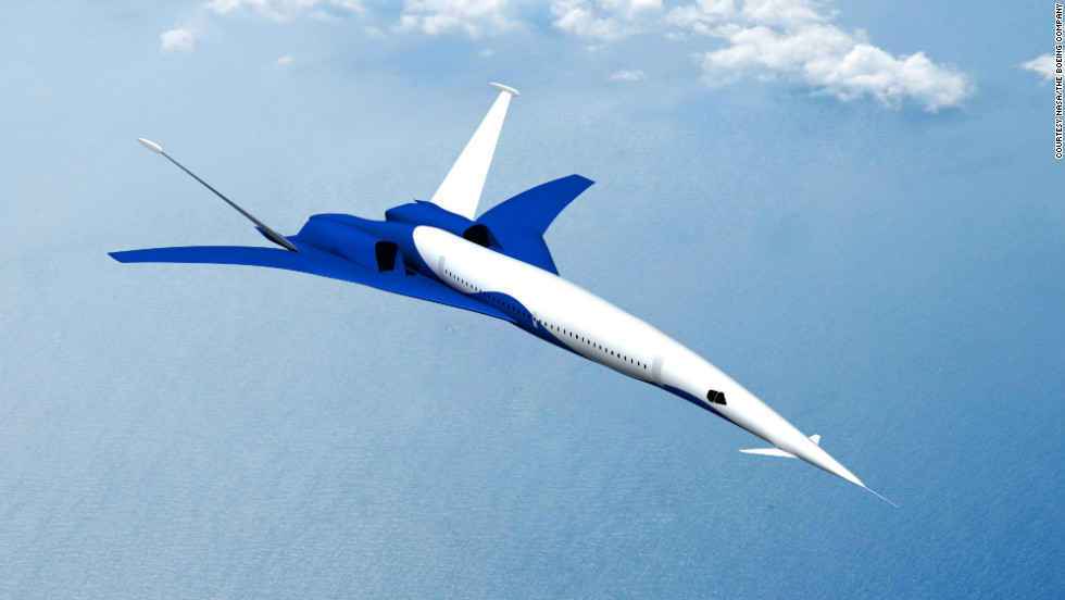 A rendering of a possible future aircraft that could fly at supersonic speed over land, designed by a team led by Boeing and funded by NASA.