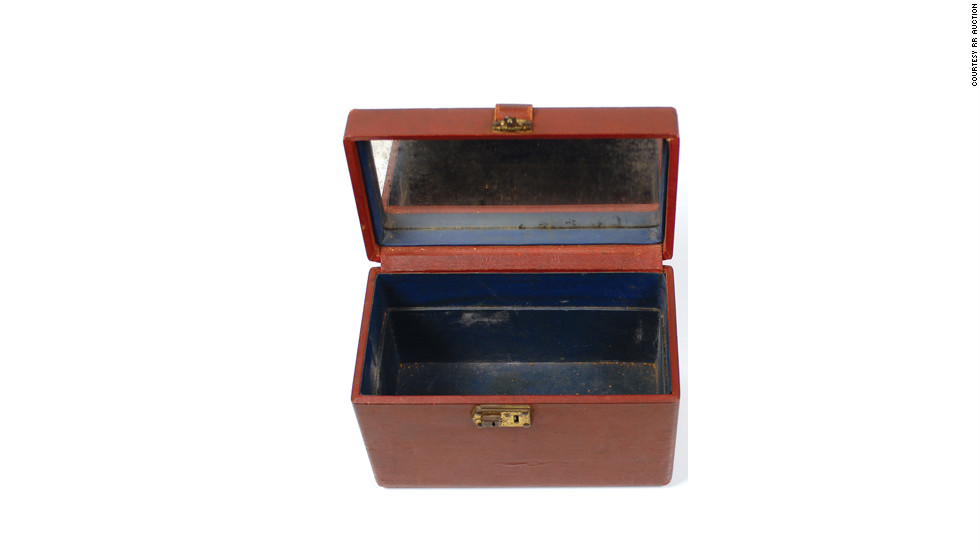 This cosmetic case, belonging to Bonnie Parker, was found in the car she and Clyde Barrow were in during the shootout with police that resulted in their deaths.