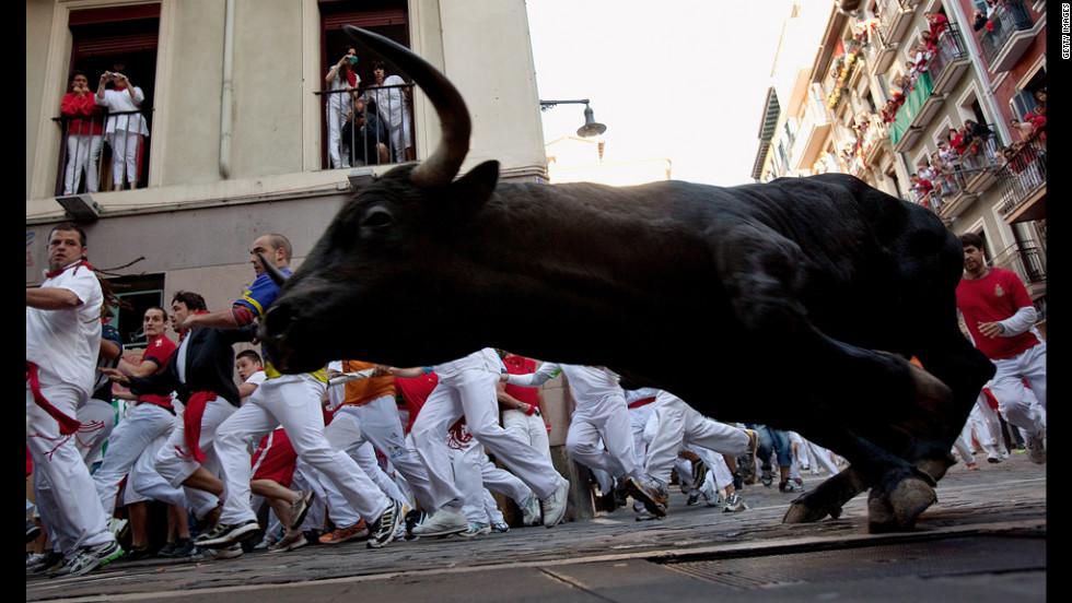 Revelers run beside a Don Juan Pedro Domecq fighting bull on Friday at Curva Estafeta.