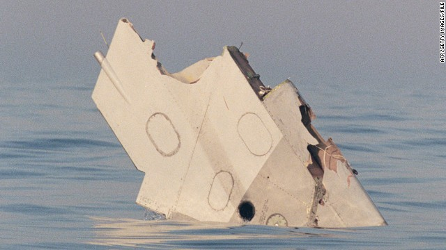 A section of the wing of TWA Flight 800 floats in the Atlantic Ocean, off Long Island, New York in 1996.