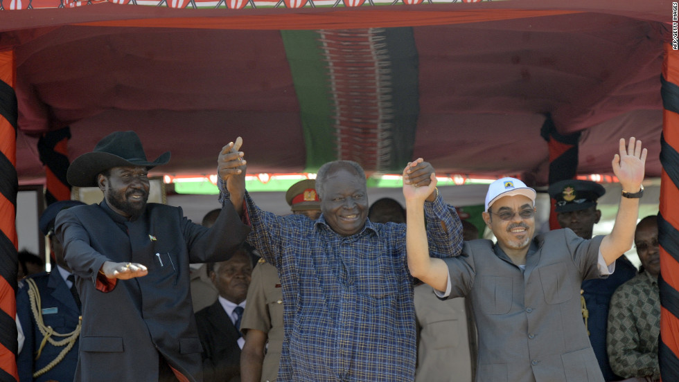 Presidents (left to right) Salva Kiir of South Sudan, (former president) Mwai Kibaki of Kenya and Meles Zenawi of Ethiopia celebrate following the ground breaking ceremony of the Lamu Port--South Sudan--Ethiopia Transport Corridor (LAPSSET) in March 2012.
