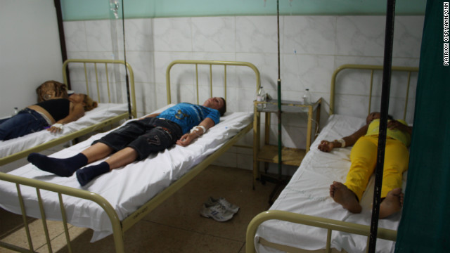 Cholera patients are pictured receiving treatment at the Celia Sanchez Manduley hospital in Manzanillo, Cuba on July 11, 2012.