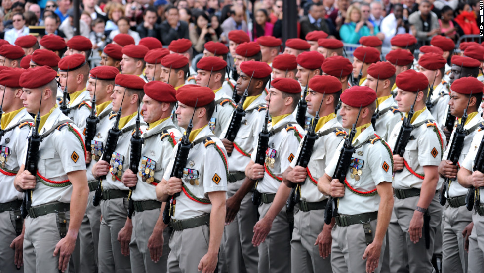 French paratroopers from the 1st Parachute Chasseur Regiment on parade in Paris.