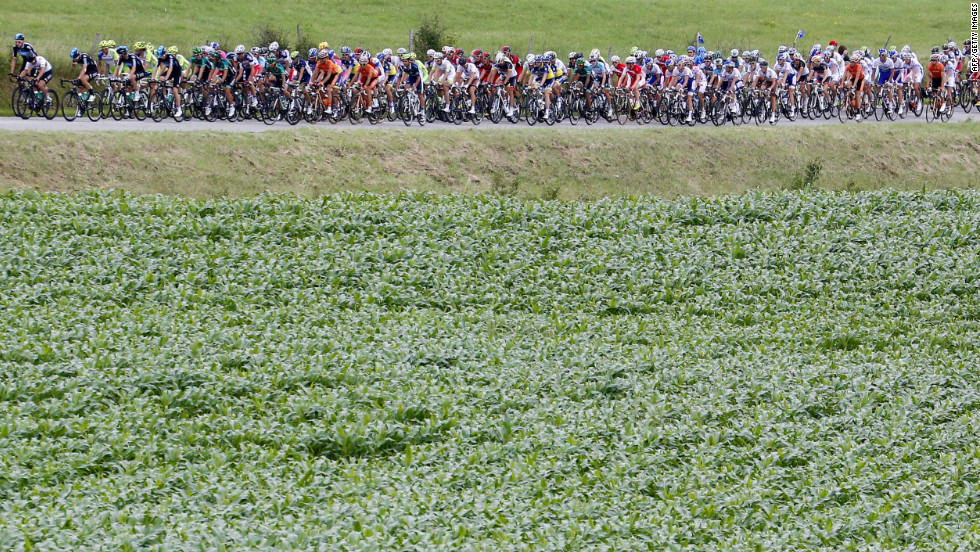 The main group of riders passes by a field during Sunday's stage, which consisted of two major climbs.