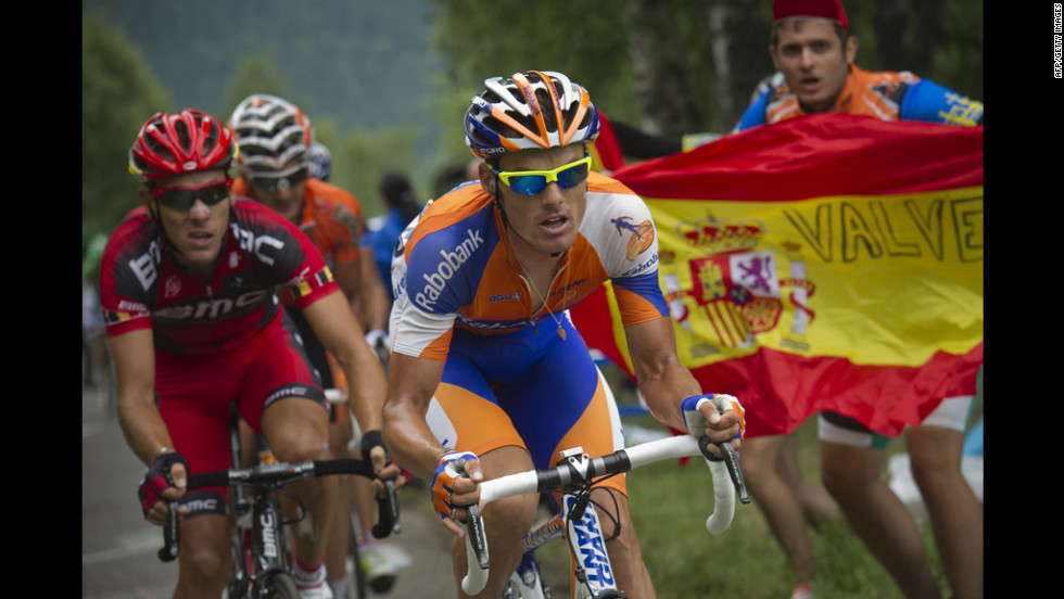 Spain's Luis-Leon Sanchez, center, eventually created a gap between himself and the rest of the breakaway group and was able to maintain his lead through the finish Sunday.