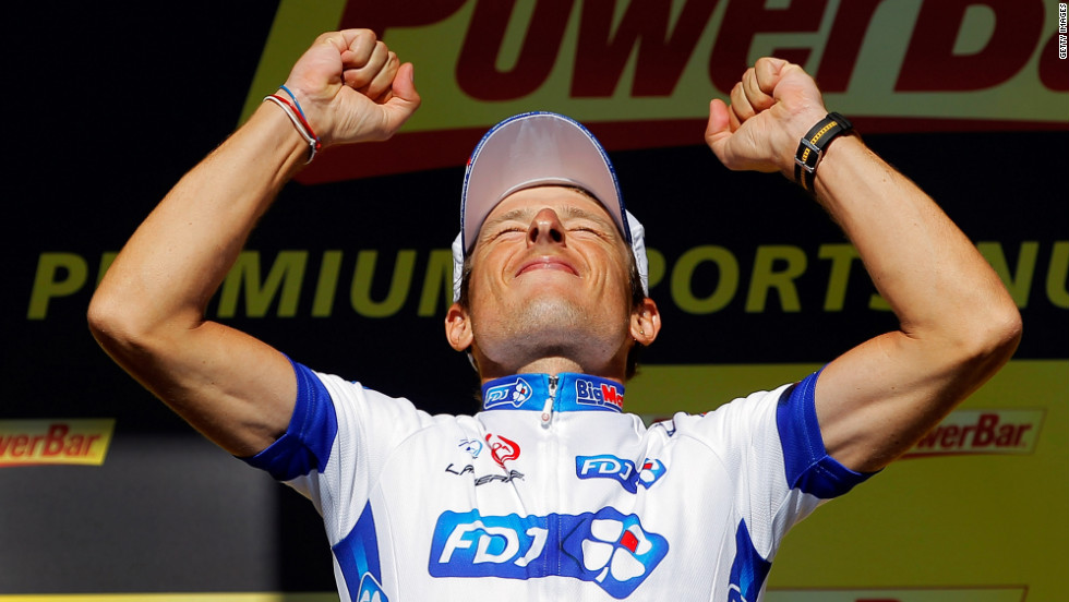 French rider Pierrick Fedrigo celebrates after winning Monday's stage in Pau.