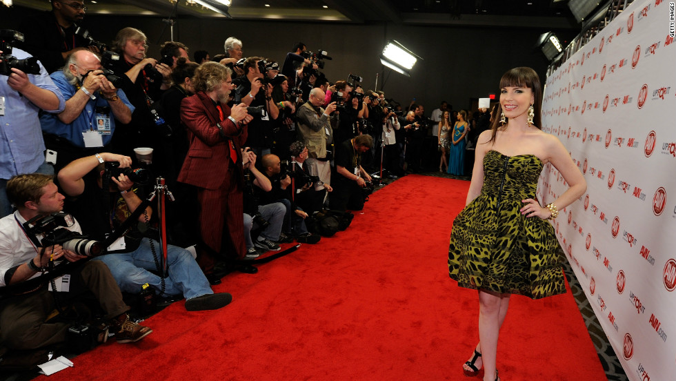 Dana DeArmond, seen here in January at an awards show, is one of the most accessible adult performers on Twitter. She responds to most of her followers who post a comment or question, often with a smart-alecky remark.