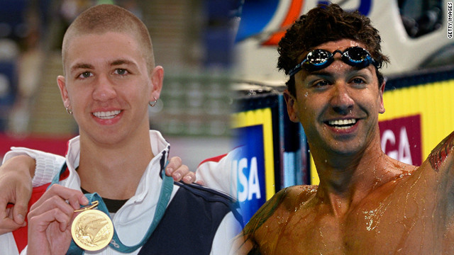 On left: Anthony Ervin (gold) United States poses after the Men's 50 meter Freestyle Final at the Sydney International Aquatic Centre in Sydney, Australia during the 2000 Summer Olympics. On right: JULY 01: Anthony Ervin reacts after he competed in the championship final of the Men's 50 m Freestyle during Day Seven of the 2012 U.S. Olympic Swimming Team Trials at CenturyLink Center on July 1, 2012 in Omaha, Nebraska.