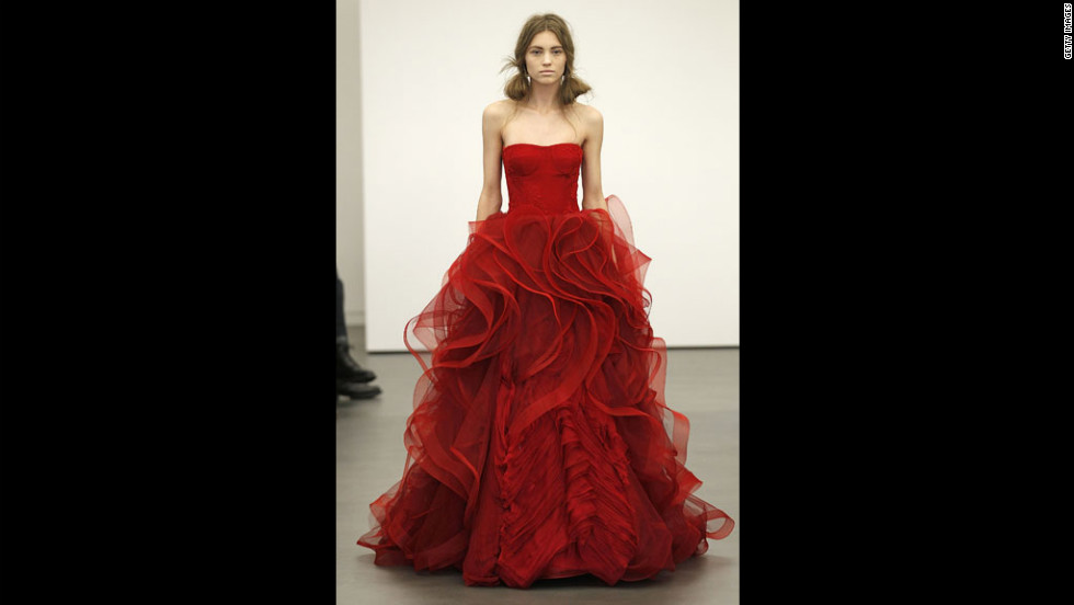 Vera Wang showed gowns in shades of crimson at her 2013 bridal show in April 2012 in New York City.