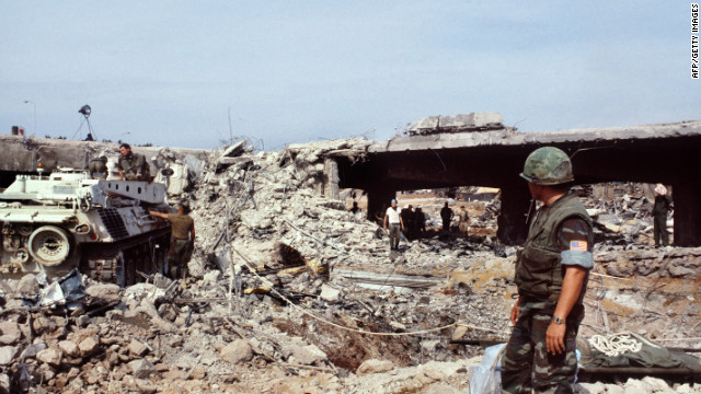 US Marines searching for victims in Beirut eight days after an attack that killed 241 American soldiers on October 23, 1983.