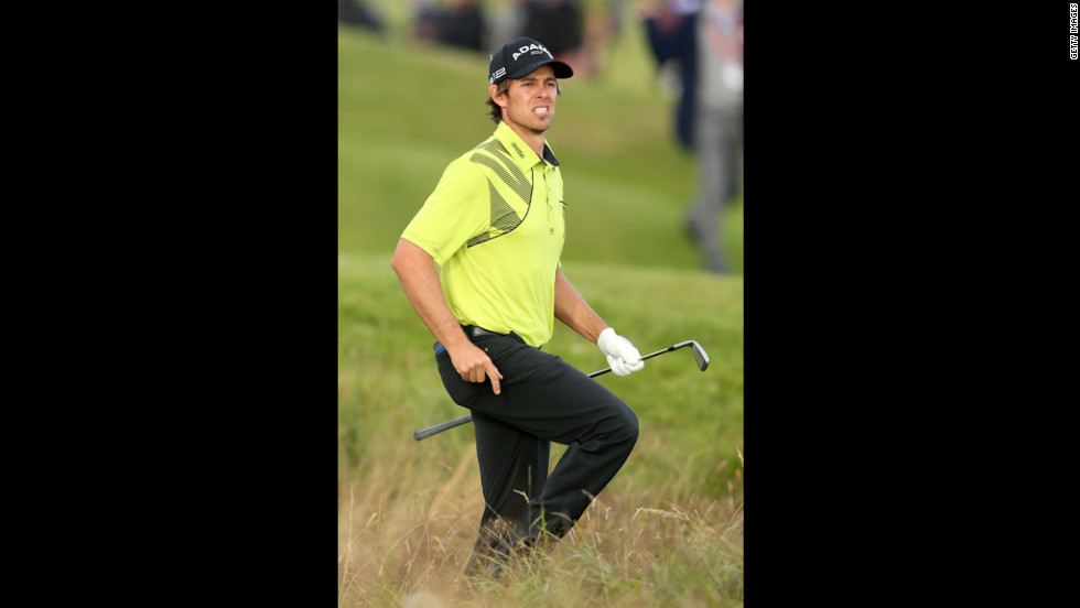 Australia's Aaron Baddeley follows the flight of a shot during Friday's second round.