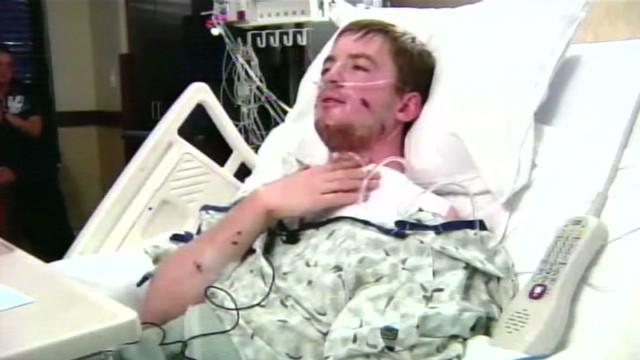 Victim shot in the neck, describes scene