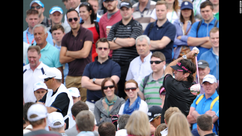 The crowd watches American golfer Bubba Watson, this year's Masters champion.