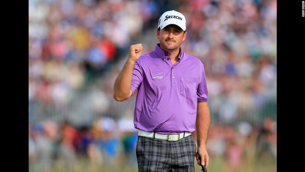 Graeme McDowell of Northern Ireland celebrates making a putt for birdie on Saturday. McDowell and Brandt Snedeker are tied for second, four shots behind leader Adam Scott.