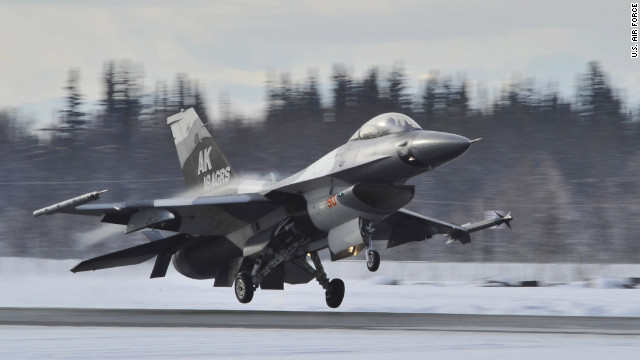 An F-16 Fighting Falcon touches down April 8, 2011, at Eielson Air Force Base, Alaska.