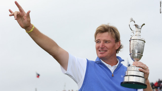 LYTHAM ST ANNES, ENGLAND - JULY 22:  Ernie Els of South Africa celebrates with the Claret Jug following his victory during the final round of the 141st Open Championship at Royal Lytham & St. Annes Golf Club on July 22, 2012 in Lytham St Annes, England.  (Photo by Warren Little/R&A/R&A via Getty Images)