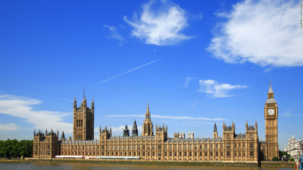 The Palace of Westminster houses the British Parliament.