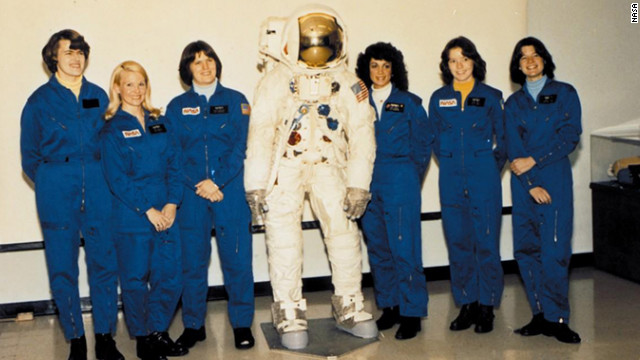 Sally Ride, far right, poses with NASA's first class of female astronauts in August 1979, including Kathy Sullivan, third from left.