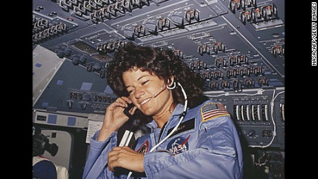 Sally Ride, America's first woman astronaut, dies Monday, July 23, after a 17-month battle with pancreatic cancer at the age of 61.  Here Ride is seen talking with ground control during her six-day space mission on board the Callenger in 1983.