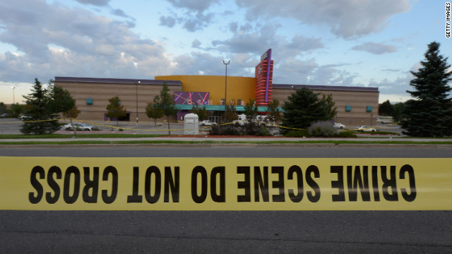 Crime scene tape surrounds the Century 16 movie theater where 12 people were killed in a shooting rampage last Friday, on July 23, 2012 in Aurora, Colorado. Suspect James Holmes, 24, allegedly went on a shooting spree and killed 12 people and injured 58 during an early morning screening of 'The Dark Knight Rises.' (Photo by Kevork Djansezian/Getty Images)