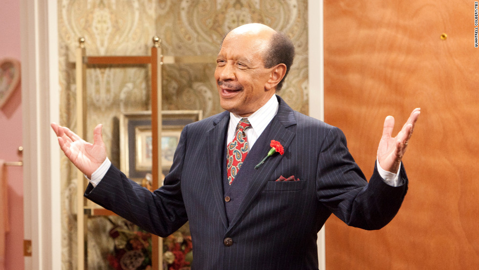 "Sherman Hemsley reacts during a scene in an episode of ""House of Payne"" in April 2011. Hemsley, who played the brash George Jefferson on ""All in the Family"" and ""The Jeffersons,"" died Tuesday at 74, his booking agent said."