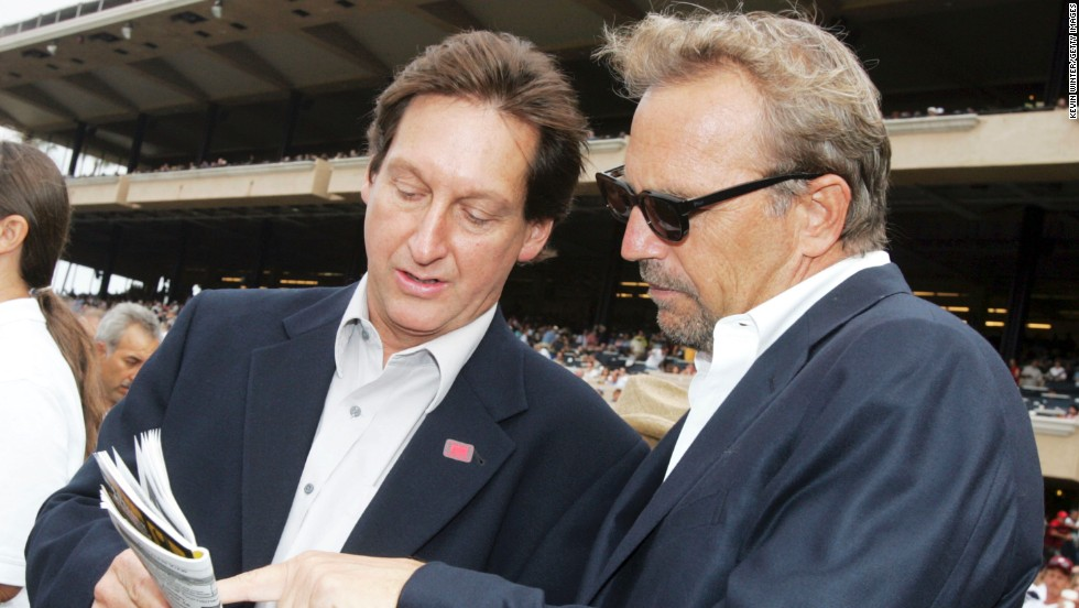 "Actor and director Kevin Costner, right, part-owns a number of racehorses which mainly run at Hollywood Park in California. He also supported the industry by voicing a documentary called ""Laffit: All About Winning,"" celebrating the life and career of one of horseracing's most decorated jockeys, Laffit Pincay."