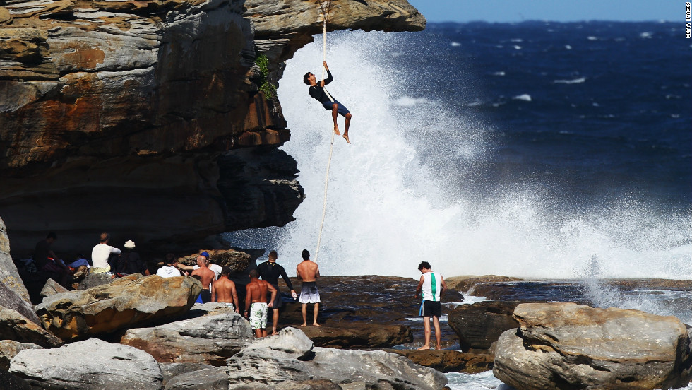 Rope climbing was dropped from the Olympics in 1932. But that hasn't stopped professional climbers still keeping the sport alive. Here, climber Marcus Bottay scales a five-meter rope bare-handed in Sydney, Australia.