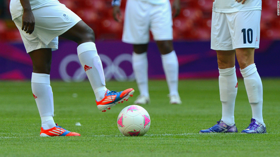 Britain's Anita Asante kicks off the match with Kelly Smith between Great Britain and New Zealand.